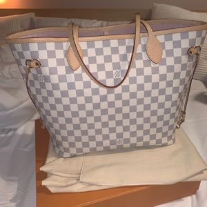 Louis Vuitton Neverfull MM Damier Azur w/ Pochette